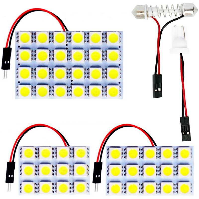 12 15 24 SMD 5050 LED Auto Dome Panel Light Car Interior Reading Lamp Roof Bulb With T10 W5W C5W C10W Festoon 2 Adapter Base