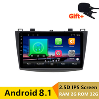 9 2+32G 2.5D IPS Android 8.1 Car DVD Multimedia Player GPS for Mazda 3 2010 2011 2012 2013 audio car radio navigation