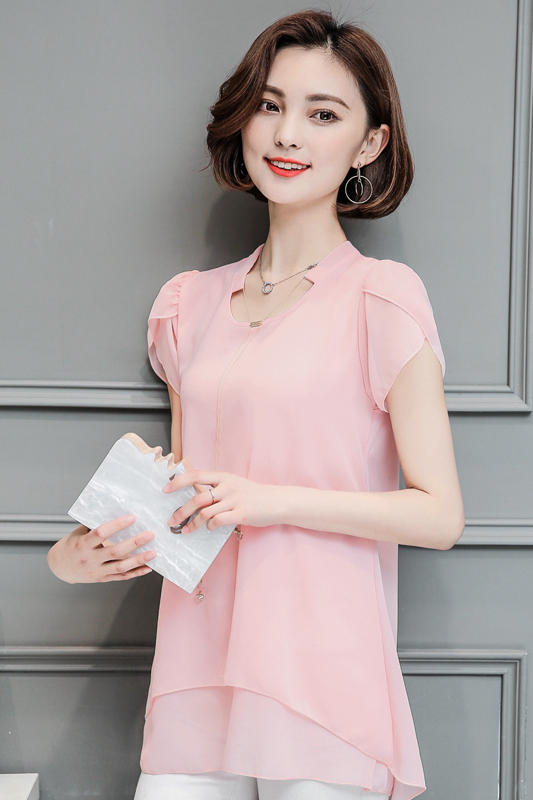 New 2017 Chiffon summer   blouses     shirt   Ruffled short sleeve V-neck Women   Blouses   solid red pink women Tops Casual Blusas 971J