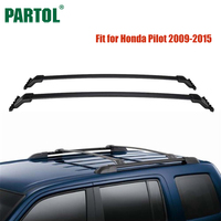 Partol 2Pcs Set Black Car Roof Rack Cross Bars Crossbars 45kg 100LBS Cargo Luggage Carrier Top