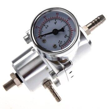 Universal Car Adjustable Fuel Pressure Regulator with Gauge Silver
