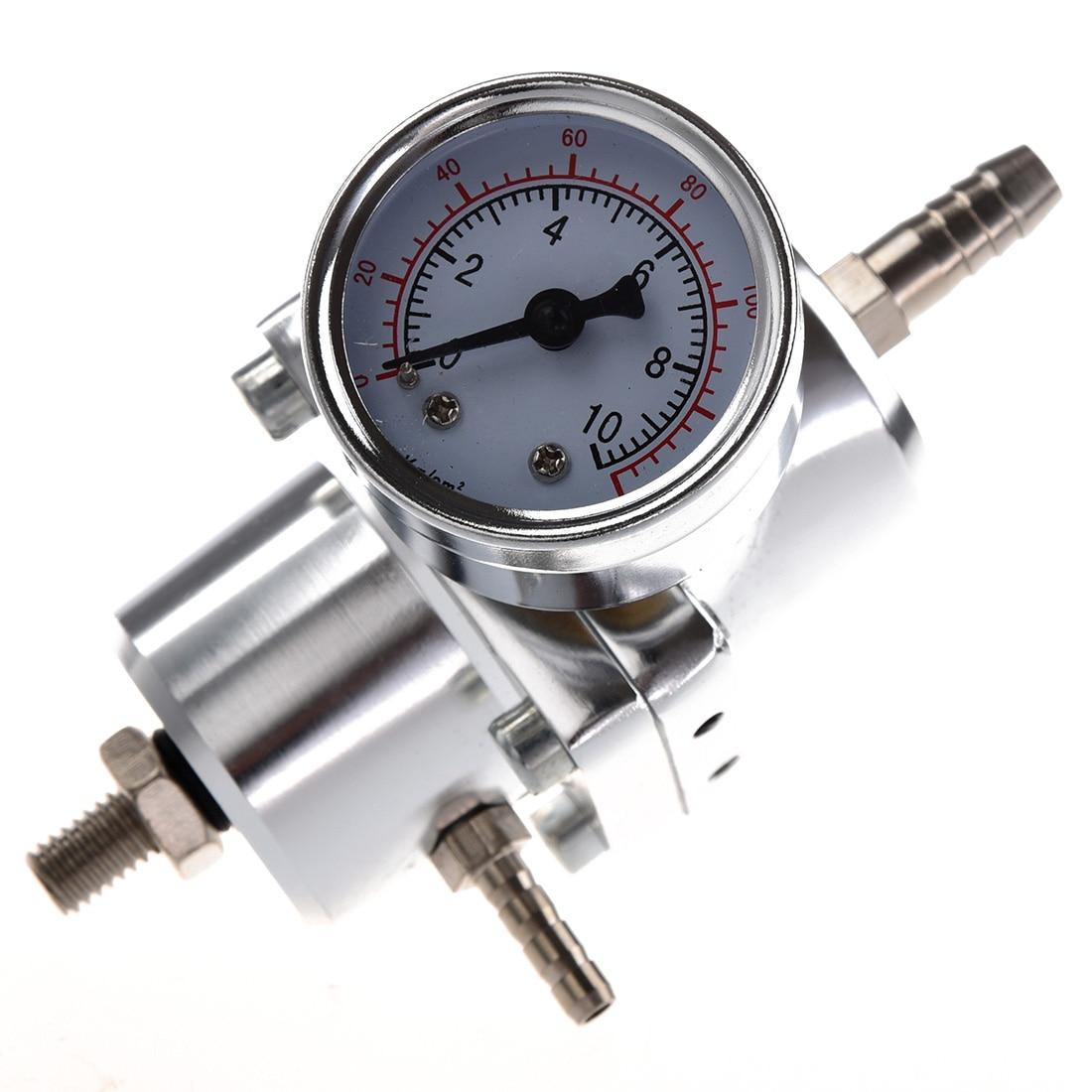Universal Car Adjustable Fuel Pressure Regulator with Gauge Silver все цены