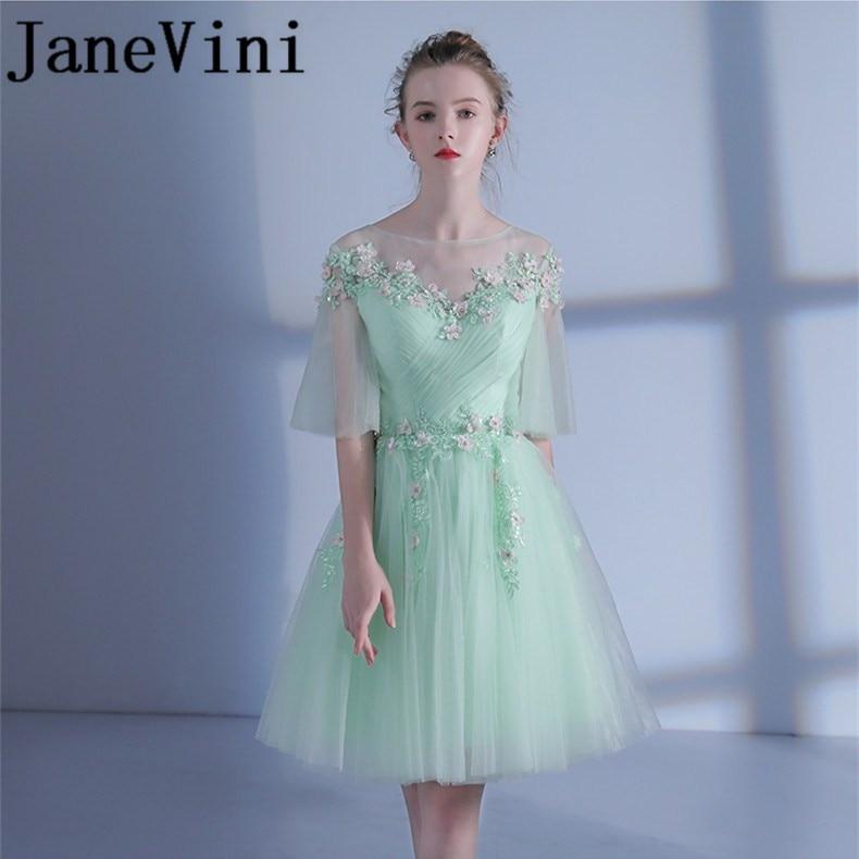 JaneVini 2018 Light Green Short Bridesmaids Dresses Plus Size A-Line Sheer Neck Lace Appliques Beading Tulle Bruiloft Jurk Dames