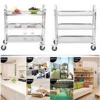 Newest Large Size Stainless Steel Kitchen Trolley Universal Transport Trolley Space Saving Storage Rack Kitchen Storage Cart