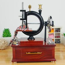 Hand Cranked Wooden Sewing Machine Music Box Sky City Music Box craft Mother 's Day Creative Gifts Birthday Gifts