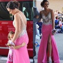 Split Side Prom Kleider 2017 V-ausschnitt Sleeveless Backless Sweep Zug Chiffon Kristall Party Kleider Meerjungfrau Abendkleid 2016