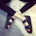 2017 Лето Рим Стиль Сандалии Женская Обувь Женщина Полый Крест Ремнями Квартиры Пряжка Sandalias Zapatos Mujer Chaussure Femme