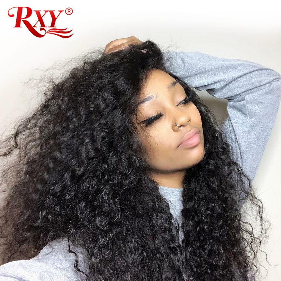 Rxy Deep Curly Human Hair Wig 360 Lace Frontal Wig Pre Plucked With Baby Hair Remy