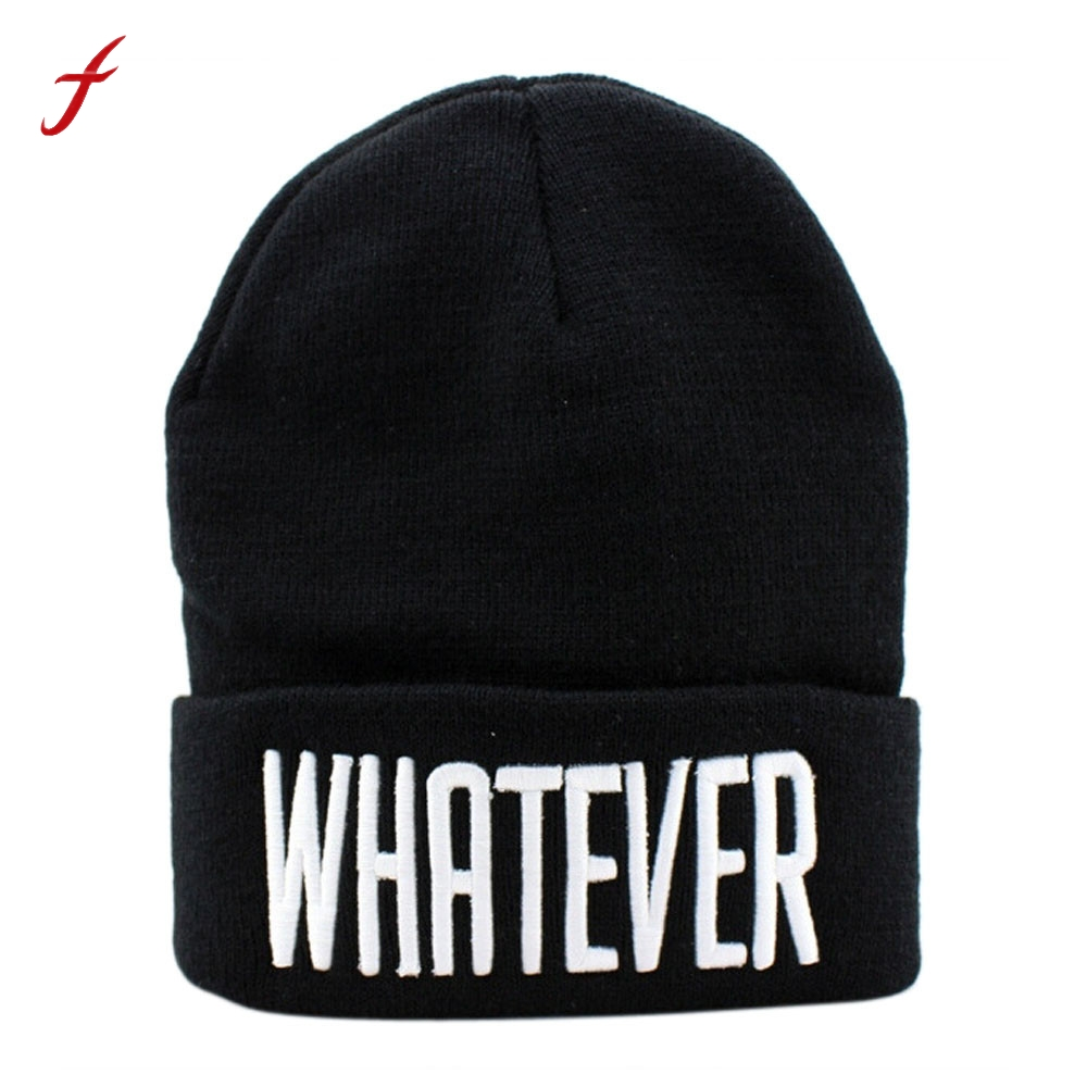 Autumn And Winter Black Whatever Beanie Hat And Snapback Men And Women cap Thick Female Cap Fashion Casual women's hats shocking show 2016 new design winter black whatever beanie hat and snapback men and women cap
