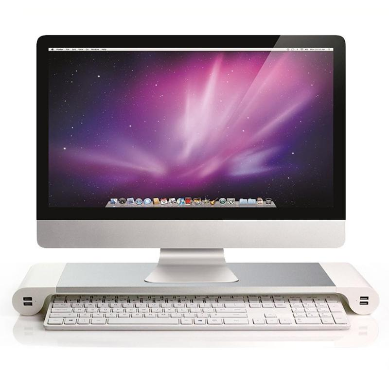 Aluminum Alloy Laptop Monitor Stand And Dock Desk Riser With 4 USB Ports For iMac MacBook Laptops 2