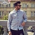 100% Хлопок Высокого Качества Вскользь Рубашка С Длинным Рукавом 2016 Осень Camisa Цветочный Masculina Мужчины Рубашка Плюс Размер 1113 рубашка