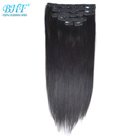 BHF Clip in Human Hair Extensions Straight 100% Remy Hair Extension Clips 1b# 2# Dark brown 613# blonde Color