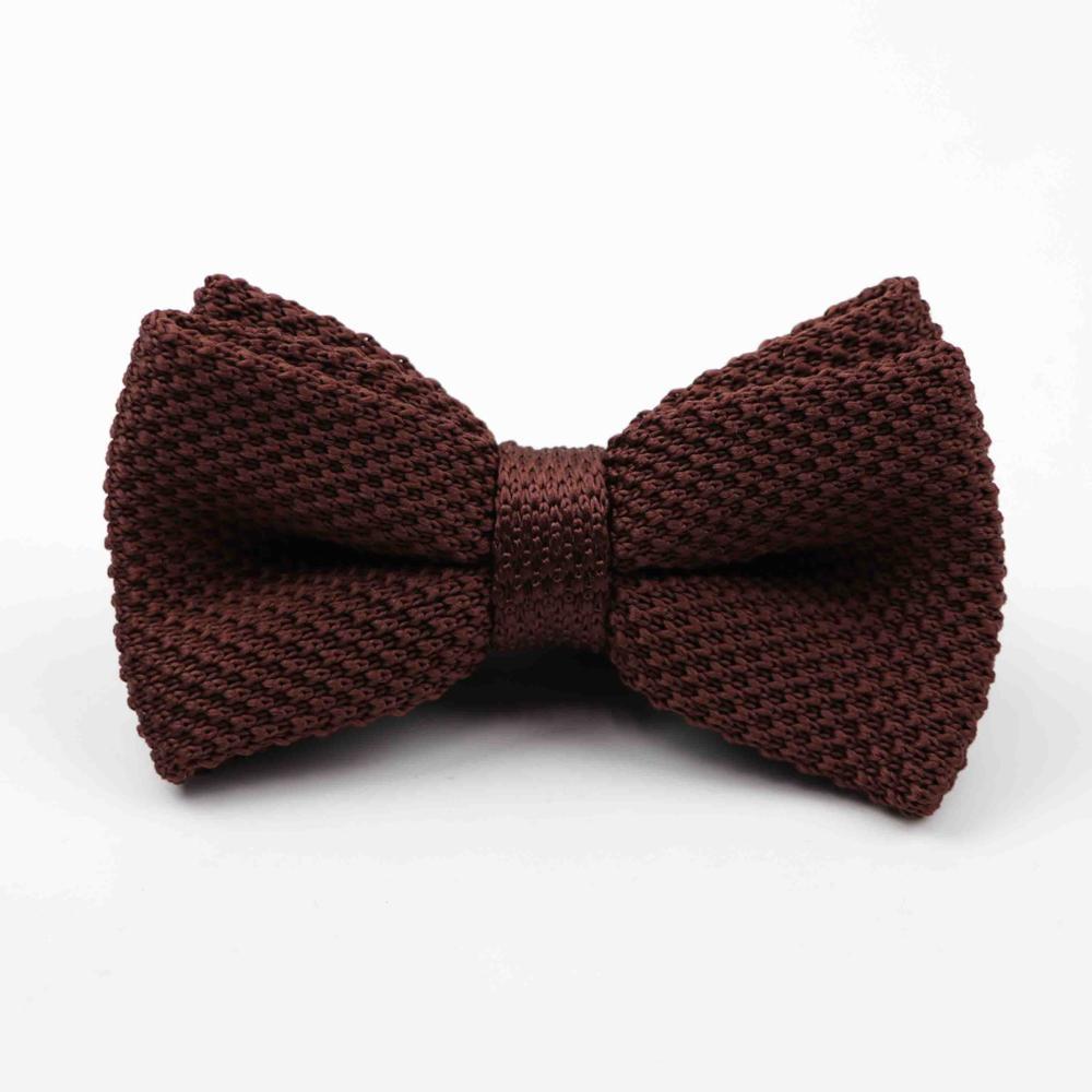 Мужские галстуки для шеи, смокинг, вязаная бабочка, Одноцветный галстук-бабочка, толстый двухслойный предварительно завязанный Регулируемый вязаный Повседневный галстук - Цвет: 45