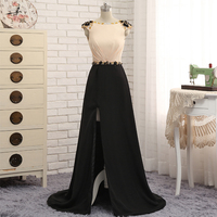 Evening Dresses Long 2016 High Quality Chiffon With Crystal Stones Sexy V Back Women Formal Party