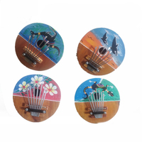 Color Send Random Kalimba Thumb Piano High Quality 7 Keys Tunable Coconut Shell Painted   Musical     Instrument