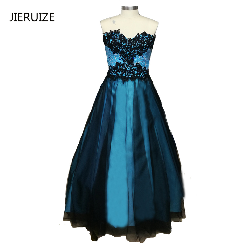 JIERUIZE Blue And Black Prom Dresses Long 2017 Sweetheart Lace Appliques Beaded Removable Skirt Prom Dresses 2 in 1 Dresses