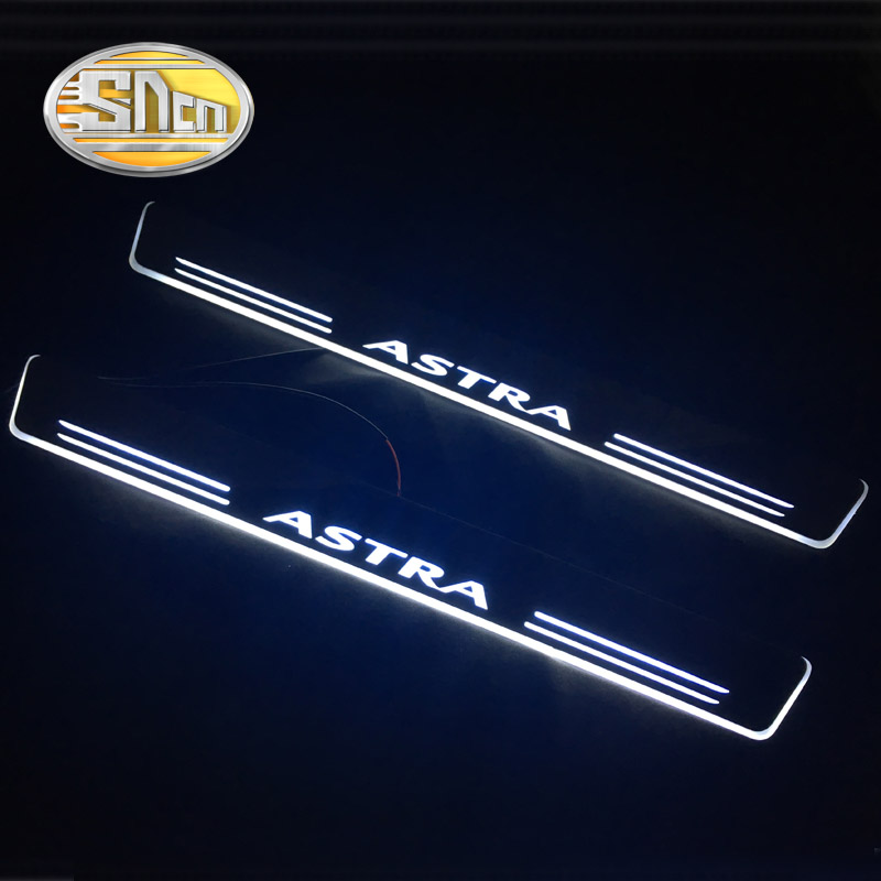 SNCN Waterproof Acrylic Moving LED Welcome Pedal Scuff Plate Pedal Door Sill Pathway Light For Opel Astra G H J 2014 2015 2016