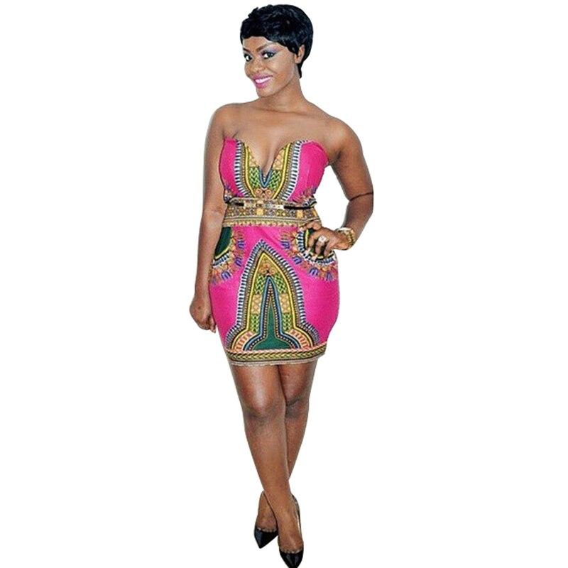 autumn summer 2017 African dresses for women sexy strapless dress dashiki wax batik printing pure cotton party Elegant dress