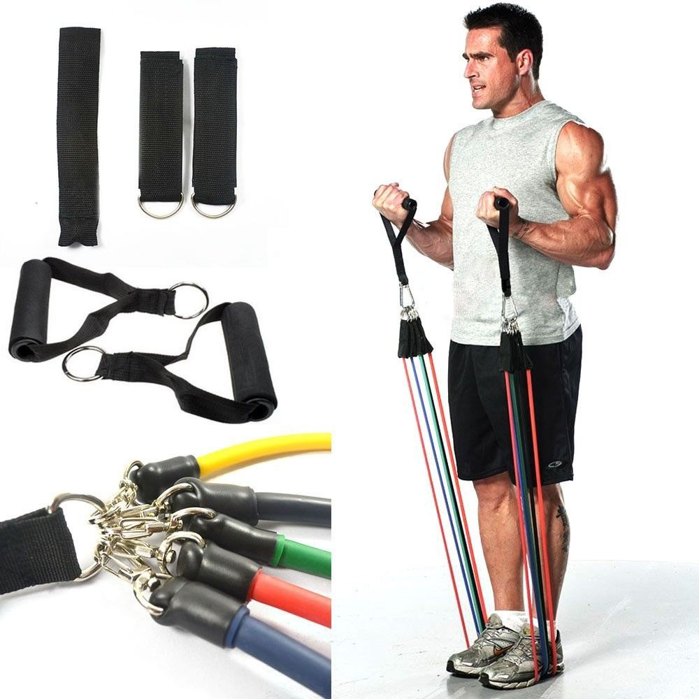 Workout Bands Youtube: 11 PCS Latex Resistance Tubes Set Gym Fitness Exercise