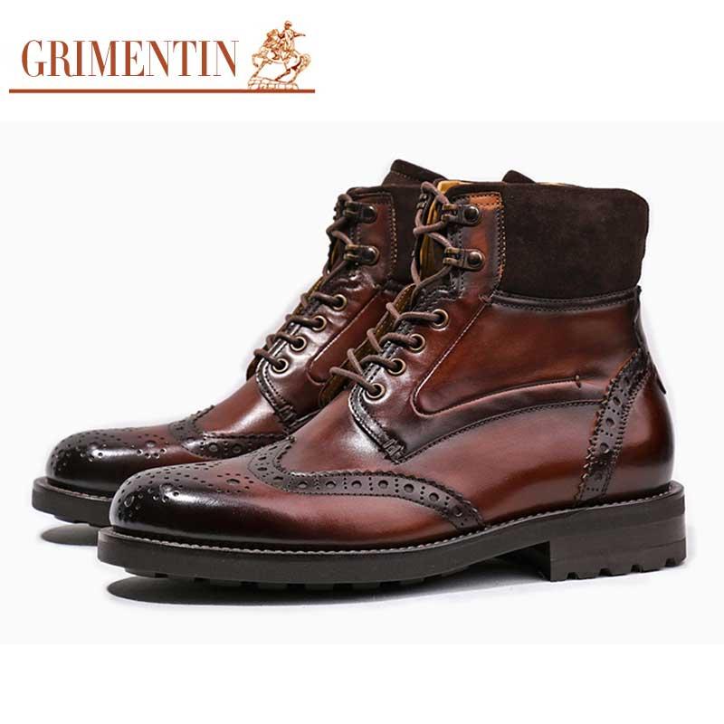 d5b0645ad GRIMENTIN الفاخرة الرجعية رجل جزمة جلد طبيعي تخصيص اليدوية منحوتة حذاء رجالي  غير رسمي