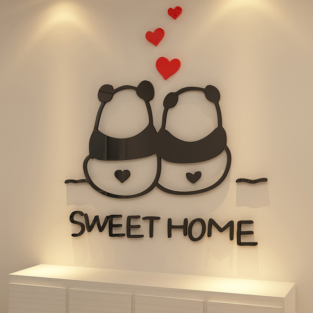 Panda Couples Sweet Home Design Acrylic Wall Stickers Closet Window Living  Room Decorations