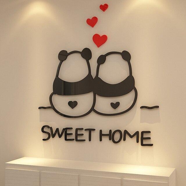 Amazing Panda Couples Sweet Home Design Acrylique Stickers Muraux Placard Fenêtre  Salon Décorations