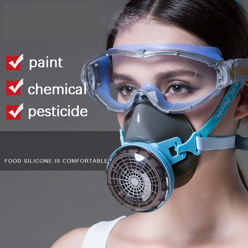 Silicone Gas Mask Set Respirator Spray Special Dust Mask PM2.5 Industrial Dust Formaldehyde Protection Activated Carbon Gas Mask