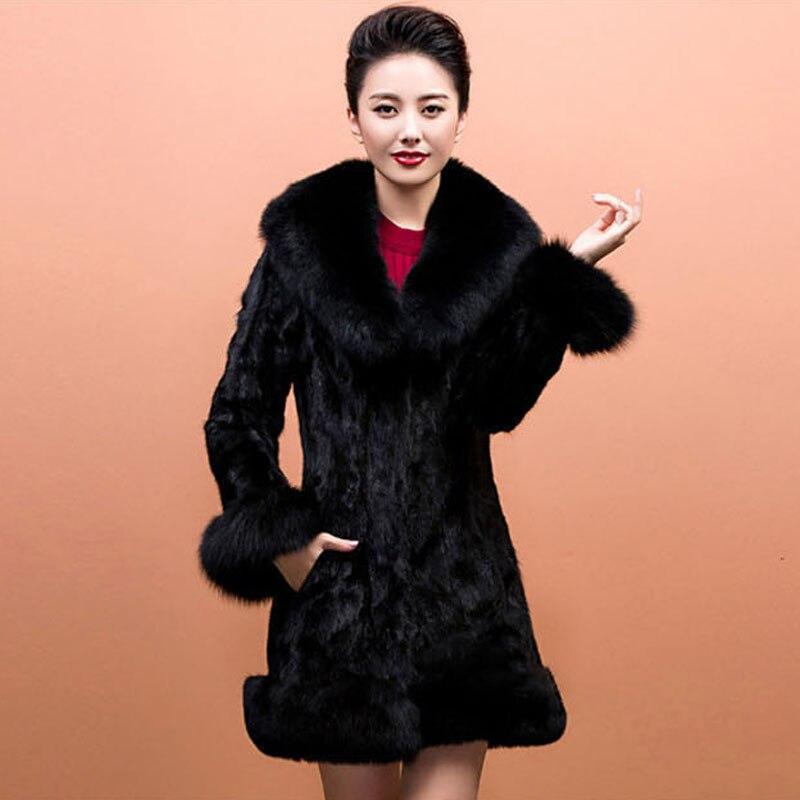 Imitation Col Moyen Long Manteaux Fourrure Femme 2016 Vestes Vison Survêtement W855 Des Hiver Femmes Mode Faux De La Fausse Renard En 74f7qSOc