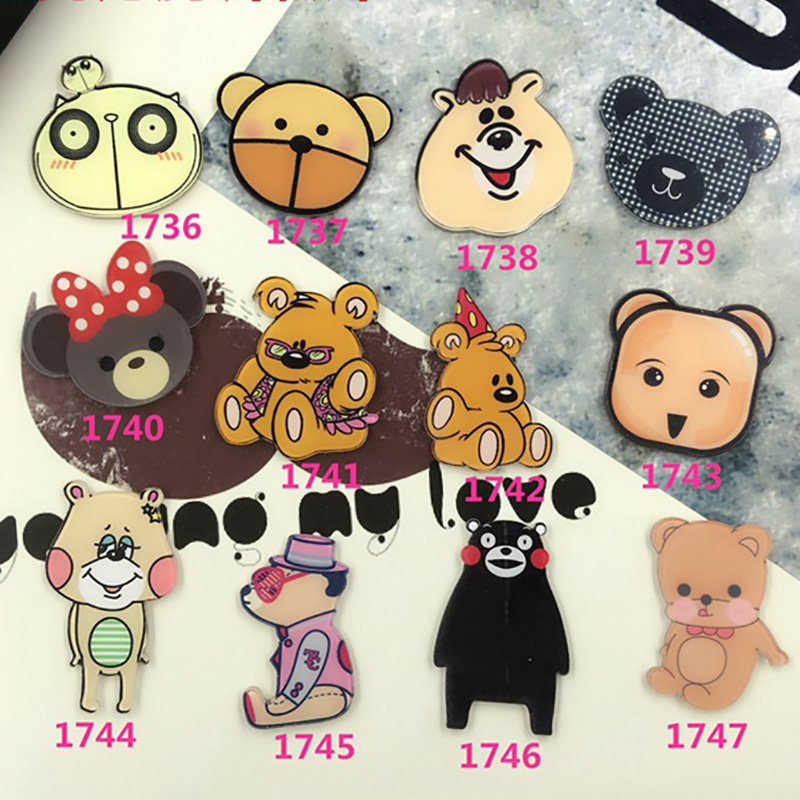 Cartoon Cute Bear Badges For Clothing Shoes Collar Kawaii Acrylic Badge Icons Backpack Women Men Jewelry Pin Brooches Accessory