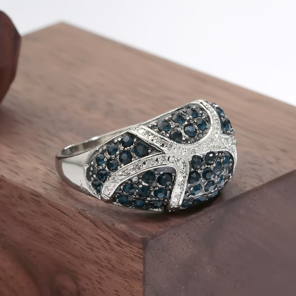 Hainon Blue Crystal Rhinestone Rings Jewelry Vintage Retro Ring for Woman Big Silver Color Party Engagement Rings