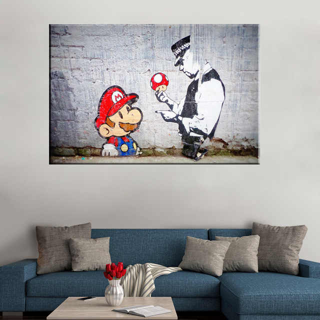 Banksy Graffiti Mario And The Cop Canvas Art Prints paintings wall art picture poster home decoration for living room