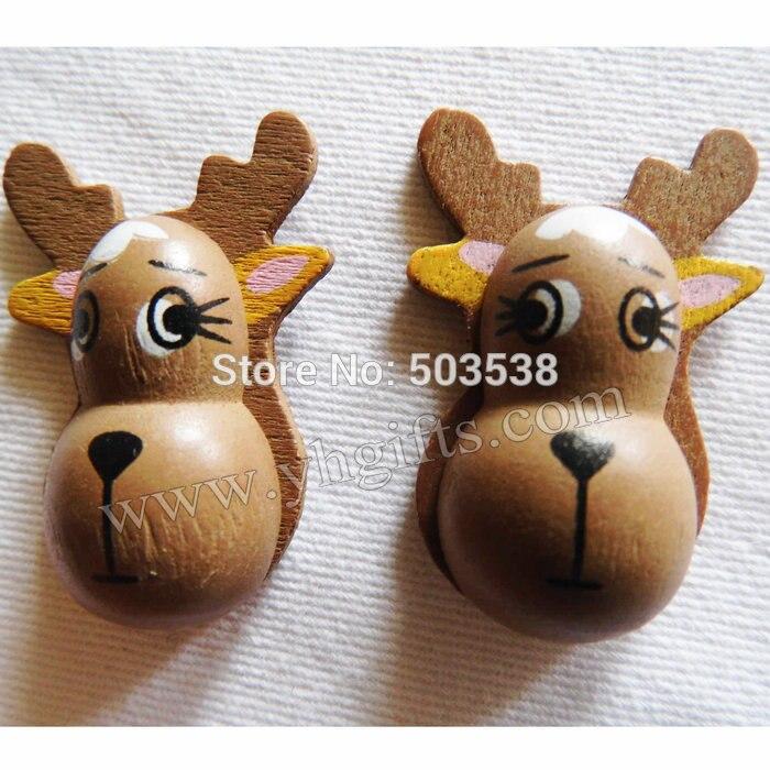 100PCS/LOT.Wood brown deer stickers,2.5x4cm.Kids toys,scrapbooking kit,Early educational DIY.Kindergarten crafts.Classic toys.