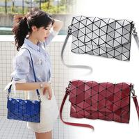 Kisumater 2017 New Geometry Lattic Handbag Women S Handbag Diamond Shape Bag Fold Over Pearl Color