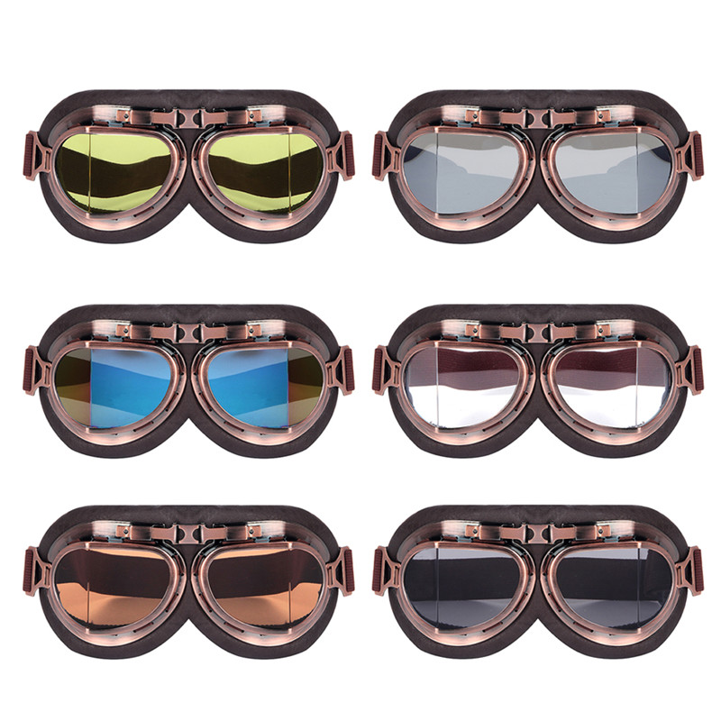 Triclick Motorcycle Goggles Glasses Vintage Motorbike Classic Retro Aviator For Harley Protection Eyewear UV