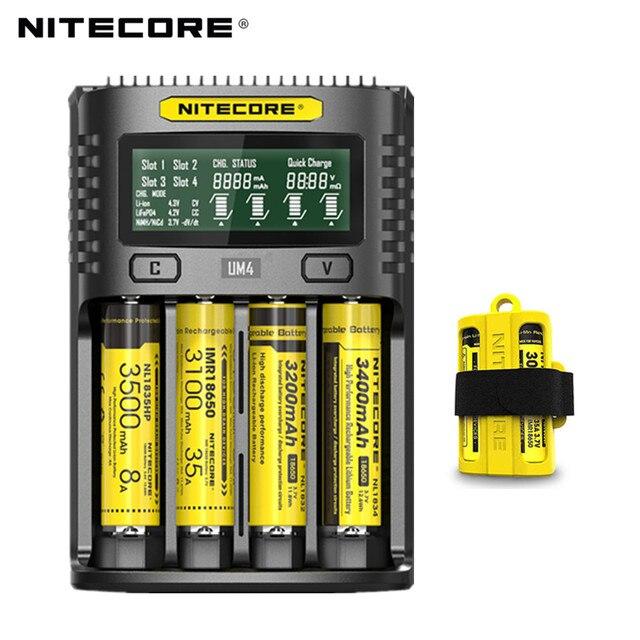 100% Original Nitecore UM4 UM2 USB QC Battery Charger Intelligent Circuitry Global Insurance li ion AA AAA 18650 21700 26650