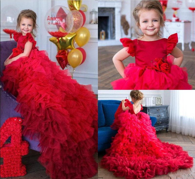 Luxury   Flower     Girl     Dress   with Sweep Train Cap Sleeves Handmade   Flowers   Red Pageant Gowns Backless Custom Made Tulle Formal Wear