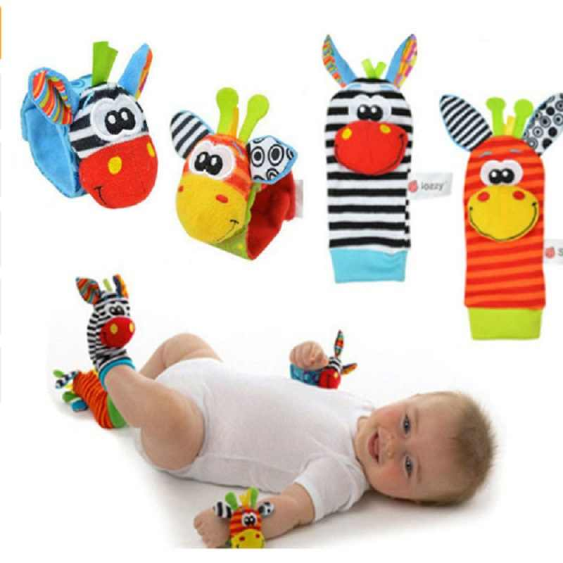 Rattles ของเล่นสัตว์นาฬิกาข้อมือของเล่นเพื่อการศึกษาเด็กทารกแรกเกิดถุงเท้าเด็กสายรัดข้อมือ Rattle ถุงเท้าเท้าสร้อยข้อมือของเล่น
