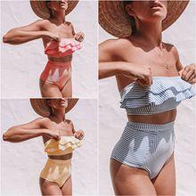 New Summer Womens Separate Swimming Suit Irregular Stripes Lotus Leaf Edge High Waist Bikini Set Sexy