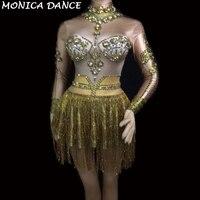 Sexy Stage fringe Sparkly Gold Rhinestones Tassel Dress Stage Costume Women's DJ Singer Dance Long Sleeves Gogo Dance Costumes