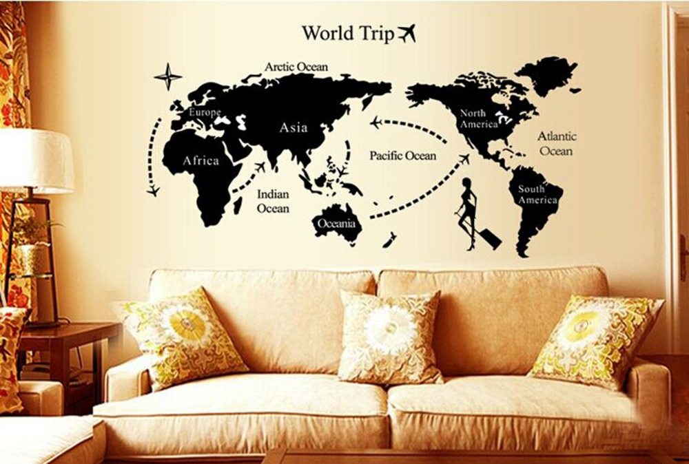 wall paintings 3d three dimensional wall stickers world map sticker for home hotel room bathroom