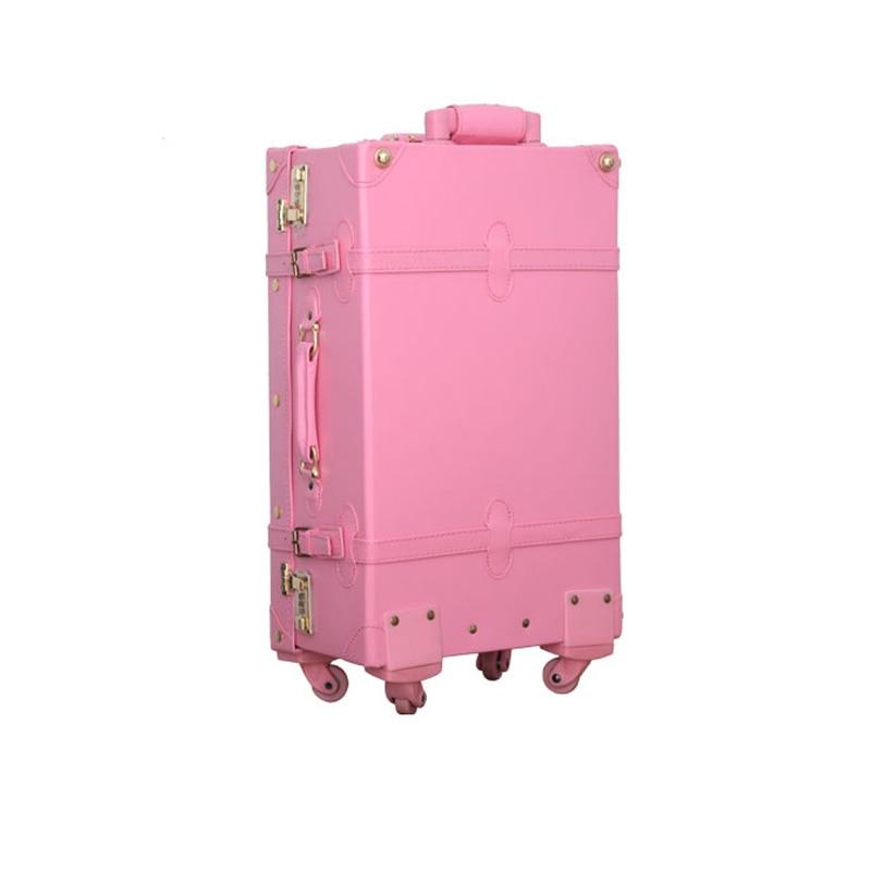 Vintage universal wheels trolley luggage,retro korea fashion pu leather trolley luggage,12 20 22 24inches red married box case