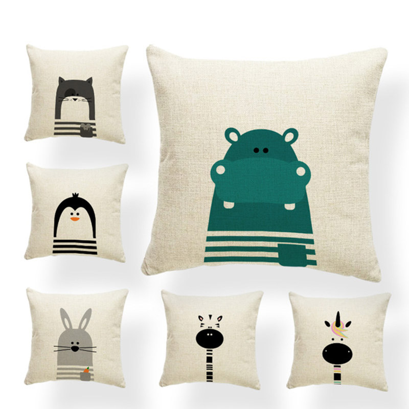 Cartoon Cushion Covers Animal Unicorn Penguin Seal Crocodile Hippo Monkey Pilow For Kids Pillowslip Covers Small Burlap Colorful