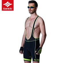 Santic Men Summer Cycling Bib Shorts Cool Max Italian 4D Cushion Pad Triathlon Reflective Strip