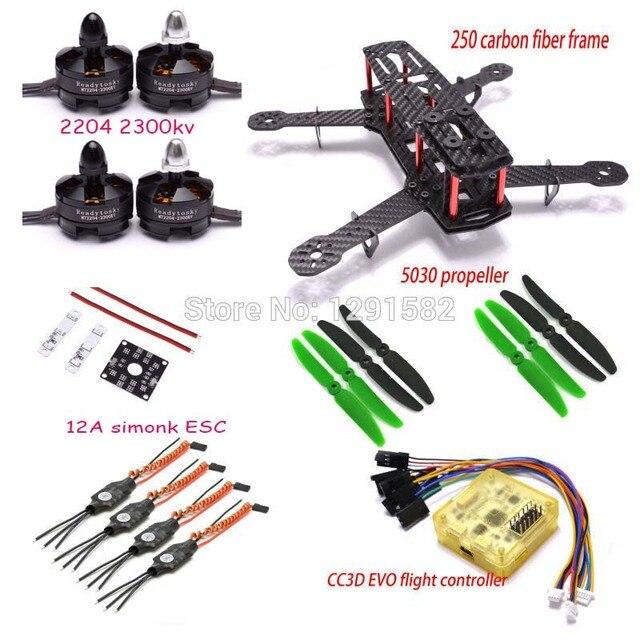 Mini QAV250 3 K Carbon Frame 2204 2300KV Borstelloze Motor 12A ESC CC3D EVO Besturingskaart 5030 Propeller Voor 250 Quadcopter