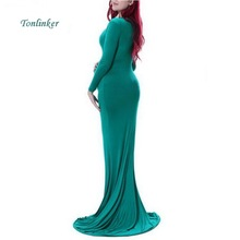 Tonlinker Maternity Dress For Photo Shoot Maternity  Dress 5-colour Maxi Fitted  Maternity Dress Long Sleeve Photography Props materninty tulle photo dress maternity long tulle fitted mermaid dress maternity photography gown maternity wedding dress