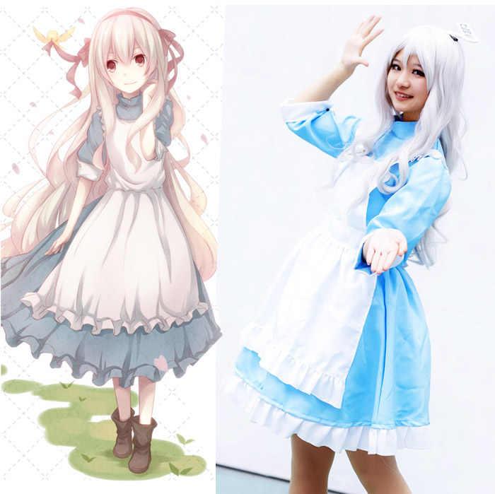 Kagero projeto kozakura mari atores mekakucity sakura jasmim traje cosplay alice no país das maravilhas maid dress