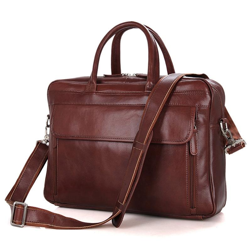 100% Genuine Leather Laptop Briefcases Men's Bag Top Handle Handbag 7333B-1 ht7333a 1 7333 1 sot89