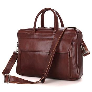 J.M.D 100% Genuine Leather Laptop Briefcases Men's Bag Top Handle Handbag 7333B-1