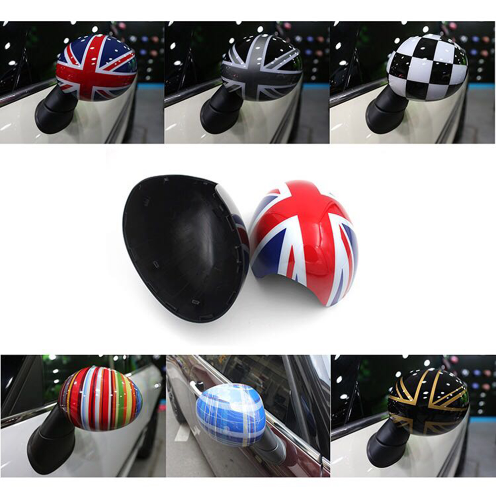 2Pcs/set Door Rear View Mirrors Cover Case Sticker Decal Car Styling For Mini Cooper One S R50 R52 R53 2002-2006 Accessories abs wheel speed sensor rear front l r for mini cooper r50 r52 r53 34526756385 34526756384