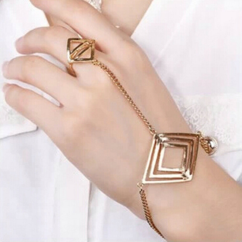 Trend Jewelry Punk Gold Rhombic Multilayer Chain Finger